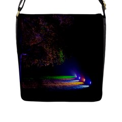 Illuminated Trees At Night Flap Messenger Bag (l)  by Nexatart