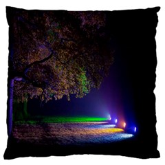 Illuminated Trees At Night Large Flano Cushion Case (one Side)