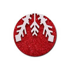Macro Photo Of Snowflake On Red Glittery Paper Rubber Round Coaster (4 Pack)  by Nexatart