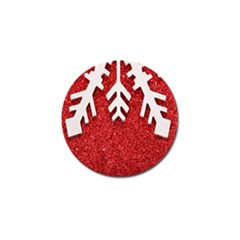 Macro Photo Of Snowflake On Red Glittery Paper Golf Ball Marker (4 Pack) by Nexatart