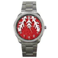 Macro Photo Of Snowflake On Red Glittery Paper Sport Metal Watch by Nexatart