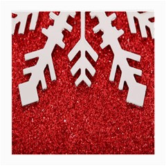 Macro Photo Of Snowflake On Red Glittery Paper Medium Glasses Cloth by Nexatart