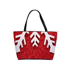 Macro Photo Of Snowflake On Red Glittery Paper Shoulder Handbags by Nexatart
