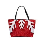 Macro Photo Of Snowflake On Red Glittery Paper Shoulder Handbags Front