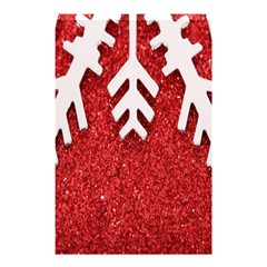 Macro Photo Of Snowflake On Red Glittery Paper Shower Curtain 48  X 72  (small)  by Nexatart