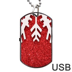 Macro Photo Of Snowflake On Red Glittery Paper Dog Tag Usb Flash (two Sides) by Nexatart