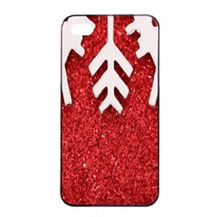 Macro Photo Of Snowflake On Red Glittery Paper Apple Iphone 4/4s Seamless Case (black) by Nexatart