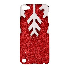 Macro Photo Of Snowflake On Red Glittery Paper Apple Ipod Touch 5 Hardshell Case by Nexatart