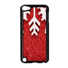 Macro Photo Of Snowflake On Red Glittery Paper Apple Ipod Touch 5 Case (black) by Nexatart