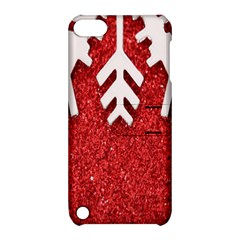 Macro Photo Of Snowflake On Red Glittery Paper Apple Ipod Touch 5 Hardshell Case With Stand by Nexatart
