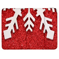 Macro Photo Of Snowflake On Red Glittery Paper Samsung Galaxy Tab 7  P1000 Flip Case