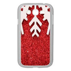 Macro Photo Of Snowflake On Red Glittery Paper Samsung Galaxy Grand Duos I9082 Case (white) by Nexatart
