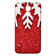 Macro Photo Of Snowflake On Red Glittery Paper Samsung Galaxy S5 Back Case (white) by Nexatart