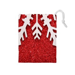 Macro Photo Of Snowflake On Red Glittery Paper Drawstring Pouches (medium)  by Nexatart