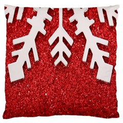 Macro Photo Of Snowflake On Red Glittery Paper Large Flano Cushion Case (one Side) by Nexatart