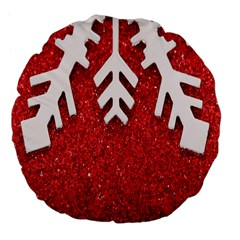 Macro Photo Of Snowflake On Red Glittery Paper Large 18  Premium Flano Round Cushions by Nexatart