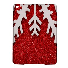 Macro Photo Of Snowflake On Red Glittery Paper Ipad Air 2 Hardshell Cases by Nexatart
