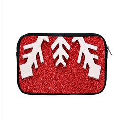Macro Photo Of Snowflake On Red Glittery Paper Apple Macbook Pro 15  Zipper Case by Nexatart