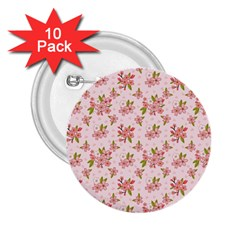 Beautiful Hand Drawn Flowers Pattern 2 25  Buttons (10 Pack)  by TastefulDesigns