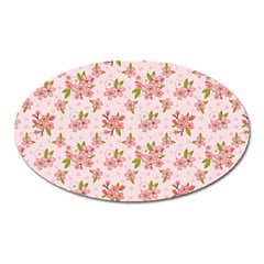 Beautiful Hand Drawn Flowers Pattern Oval Magnet by TastefulDesigns