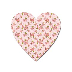 Beautiful Hand Drawn Flowers Pattern Heart Magnet by TastefulDesigns