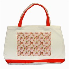 Beautiful Hand Drawn Flowers Pattern Classic Tote Bag (red) by TastefulDesigns