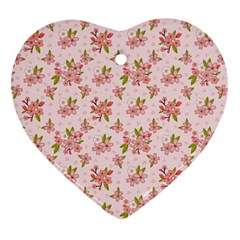 Beautiful Hand Drawn Flowers Pattern Heart Ornament (two Sides) by TastefulDesigns