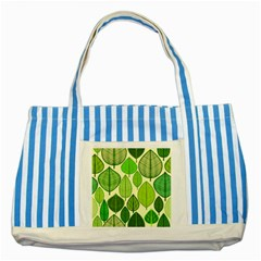 Leaves Pattern Design Striped Blue Tote Bag by TastefulDesigns