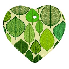 Leaves Pattern Design Heart Ornament (two Sides) by TastefulDesigns