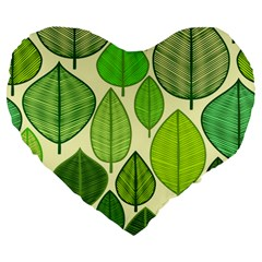 Leaves Pattern Design Large 19  Premium Heart Shape Cushions by TastefulDesigns