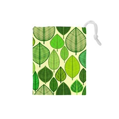 Leaves Pattern Design Drawstring Pouches (small)  by TastefulDesigns