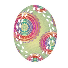 Abstract Geometric Wheels Pattern Oval Filigree Ornament (two Sides) by LovelyDesigns4U