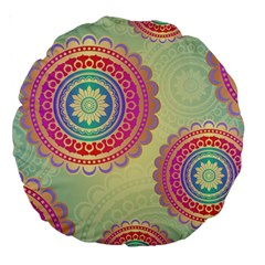Abstract Geometric Wheels Pattern Large 18  Premium Round Cushions by LovelyDesigns4U