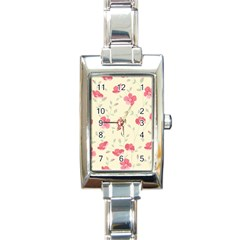 Seamless Flower Pattern Rectangle Italian Charm Watch by TastefulDesigns