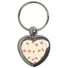 Seamless Flower Pattern Key Chains (heart)  by TastefulDesigns