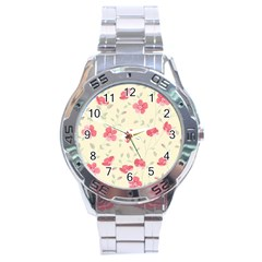 Seamless Flower Pattern Stainless Steel Analogue Watch by TastefulDesigns