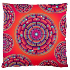 Pretty Floral Geometric Pattern Large Cushion Case (two Sides) by LovelyDesigns4U