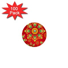Red And Orange Floral Geometric Pattern 1  Mini Buttons (100 Pack)  by LovelyDesigns4U