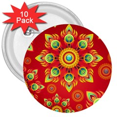 Red And Orange Floral Geometric Pattern 3  Buttons (10 Pack)  by LovelyDesigns4U