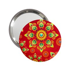 Red And Orange Floral Geometric Pattern 2 25  Handbag Mirrors by LovelyDesigns4U