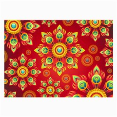 Red And Orange Floral Geometric Pattern Large Glasses Cloth (2 Side) by LovelyDesigns4U