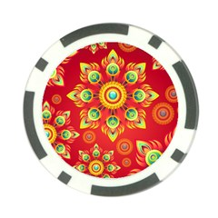 Red And Orange Floral Geometric Pattern Poker Chip Card Guard (10 Pack) by LovelyDesigns4U