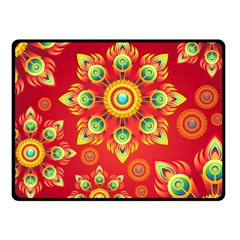 Red And Orange Floral Geometric Pattern Fleece Blanket (small) by LovelyDesigns4U