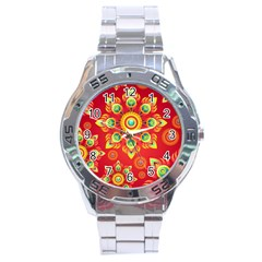 Red And Orange Floral Geometric Pattern Stainless Steel Analogue Watch by LovelyDesigns4U