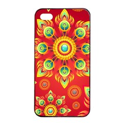 Red And Orange Floral Geometric Pattern Apple Iphone 4/4s Seamless Case (black) by LovelyDesigns4U