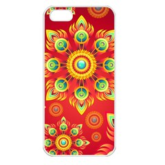 Red And Orange Floral Geometric Pattern Apple Iphone 5 Seamless Case (white) by LovelyDesigns4U