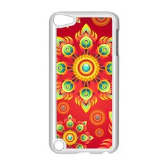 Red And Orange Floral Geometric Pattern Apple Ipod Touch 5 Case (white) by LovelyDesigns4U