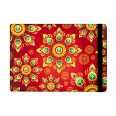 Red And Orange Floral Geometric Pattern Ipad Mini 2 Flip Cases by LovelyDesigns4U