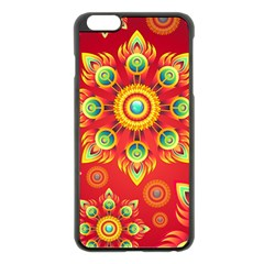 Red And Orange Floral Geometric Pattern Apple Iphone 6 Plus/6s Plus Black Enamel Case by LovelyDesigns4U