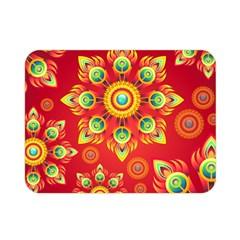 Red And Orange Floral Geometric Pattern Double Sided Flano Blanket (mini)  by LovelyDesigns4U